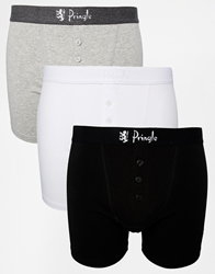 Pringle 3 Pack Button Fly Boxer Trunks Multi