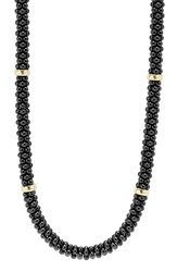 Lagos 'Black Caviar' Station Rope Necklace Black Caviar Gold