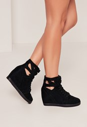 Missguided Black Cut Out Wedge High Top Trainers