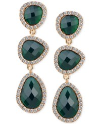 T Tahari Gold Tone Emerald Stone And Crystal Drop Earrings