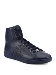 Versace Perforated Medusa Leather Hi Top Sneakers Navy