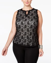 Inc International Concepts Plus Size Lace Overlay Keyhole Top Only At Macy's Deep Black