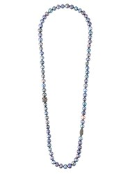 Gemco Pearl Diamond Ball Lariat Necklace Blue