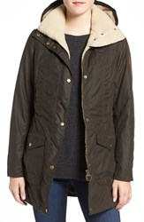 Barbour Women's 'Bleaklow' Waxed Cotton Jacket With Faux Shearling Trim