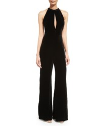 7 For All Mankind Halter Neck Wide Leg Velvet Jumpsuit Black