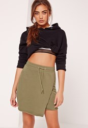Missguided Loopback Wrap Front Tie Waist Mini Skirt Khaki