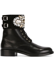 Rene Caovilla Jewel Embellished Lace Up Boots Black
