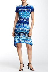 London Times Summer Ikat Sharkbite Dress Petite Blue