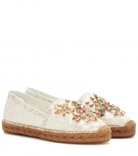 Dolce And Gabbana Crystal Embellished Lace Espadrilles White