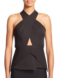 Bcbgmaxazria Remmie Open Back Peplum Halter Top Black