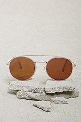 Forever 21 Men Brow Bar Round Sunglasses Gold Brown