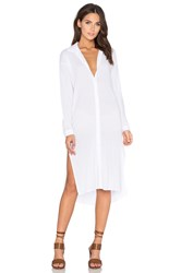 Stateside Contrast Supima Slub Jersey Long Slit Button Up Top White