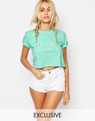 Kiss And Tell Cropped Tee With Rolled Sleeves And Mint Glitter Print Blue