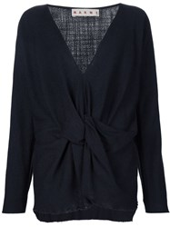 Marni Knot Detail V Neck Blouse Blue