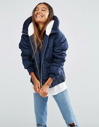 Asos Padded Jacket With Faux Fur Hood And Knitted Trim Navy