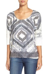 Women's Bobeau Print Three Quarter Sleeve Cozy Top