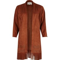 River Island Womens Rust Faux Suede Fringe Kimono Brown