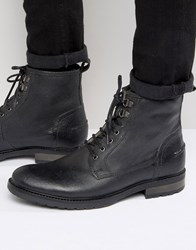 Asos Work Boots In Black Leather With Faux Shearling Lining Black