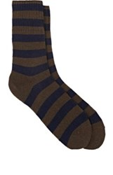 Barneys New York Men's Striped Stockinette Stitched Mid Calf Socks Brown Navy Brown Navy