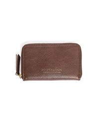 Scotch And Soda Brown Leather Zipped Cardholder And Wallet