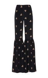Vilshenko The Jessica Light Crepe Trouser With Gathered Calf Flare Black