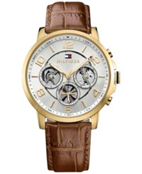 Tommy Hilfiger Men's Sophisticated Sport Brown Leather Strap Watch 44Mm 1791291