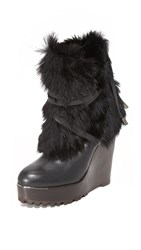 Rachel Zoe Apres Fur Wedge Boots Black