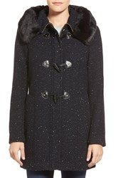 Ellen Tracy Toggle Front Tweed Coat With Faux Fur Trim Black Navy