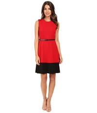 Calvin Klein Fit Flare Color Block Dress Cd5x1441 Red Black Women's Dress