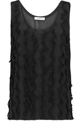 Sandro Eternity Fringed Organza And Cotton Blend Tank Black