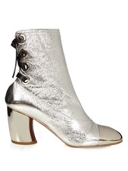 Proenza Schouler Leather Curved Heel Ankle Boots Silver