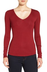 Nordstrom Women's Collection Rib Knit V Neck Top Red Sun