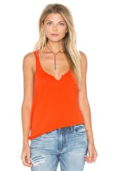 Michael Stars Cotton Supima Slub Strappy Cross Back Tank Orange