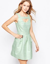 Lashes Of London Skater Dress In Jacquard Green