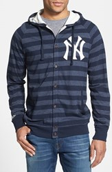 Men's Mitchell And Ness 'Yankees' Stripe Button Front Jersey Hoodie