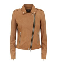 Set Leather Biker Jacket Female Tan