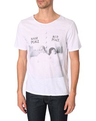Menlook Label Pascal White Slub Cotton Printed T Shirt