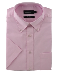 Double Two Half Sleeve Oxford Formal Shirt Pink