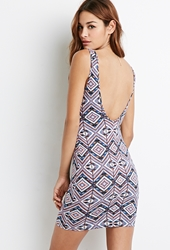 Forever 21 Scoop Back Tribal Print Dress Blue Black