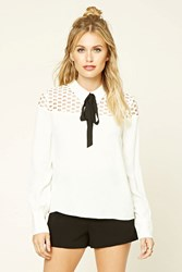 Forever 21 Contemporary Tie Neck Lace Top Ivory Black