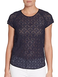 Diane Von Furstenberg Cutout Patterned Cotton Blend Tee Deep Sea