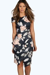 Boohoo Asymmetric Peplum Floral Print Midi Dress Multi