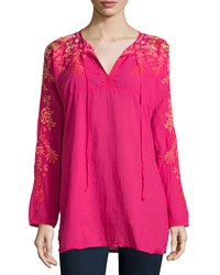 Johnny Was Jessica Long Sleeve Embroidered Woven Tunic Pink Berry