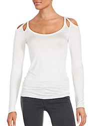 Bailey 44 Solid Shoulder Cutout Top White