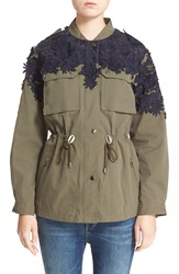 Sea Floral Embroidered Military Jacket Navy Army