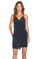 Greylin Sera Silk Cross Front Dress Navy
