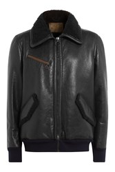 Golden Goose Leather Jacket With Shearling Trims Black