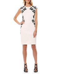 Laundry By Shelli Segal Embroidered Sheath Dress Warm White