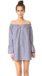 Amanda Uprichard Off Shoulder Flare Sleeve Dress Navy White Gingham