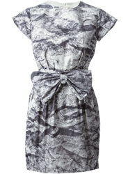 Moschino Cheap And Chic Printed Bow Dress Grey